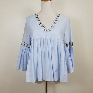 Moon River S Blouse Top Blue Stripe Embroidered